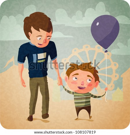 Cartoon illustration of a single father and his son at a carnival. They're holding hands and walking. The boy is holding a purple helium balloon.