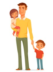cartoon illustration of a single young father with his cute children