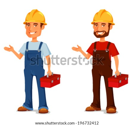 Smiling construction worker or handyman with toolbox stock vector