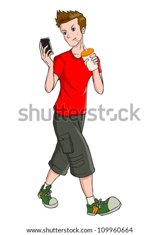 Cartoon illustration of a teenager holding a cellular phone