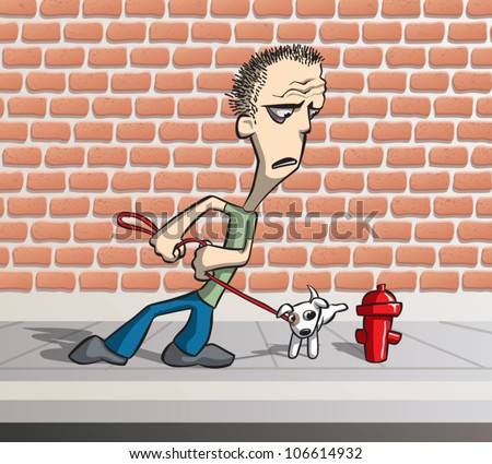 Cartoon illustration of a worried-looking man trying to keep his dog from peeing on a fire hydrant.