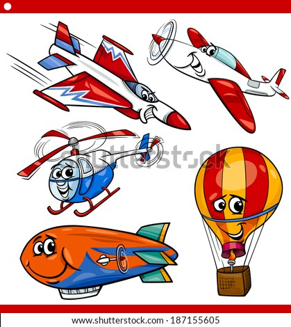 Cartoon Illustration of Aircraft or Air Vehicles like Planes and Balloons Comic Characters Set for Children