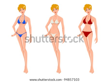 Cartoon illustration of an attractive blond woman wearing three different bikinis