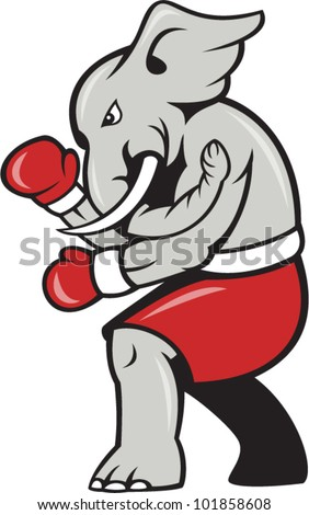 Cartoon illustration of an elephant boxer with boxing gloves and red shorts as republican mascot.