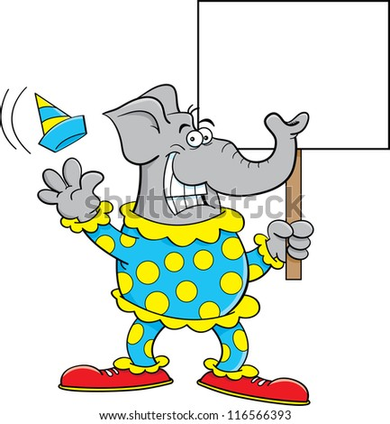 Cartoon illustration of an elephant clown holding a sign
