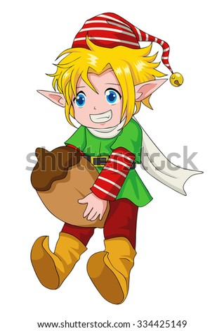 cartoon illustration of an elf