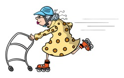 Cartoon illustration of an old lady speeding along with her walker and a set of rollerblades