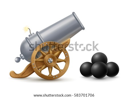 Cartoon illustration of cannon with cannonballs, weapon icon, EPS 10 contains transparency.