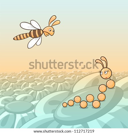 Cartoon illustration of caterpillar and bee, concept of love at first sight