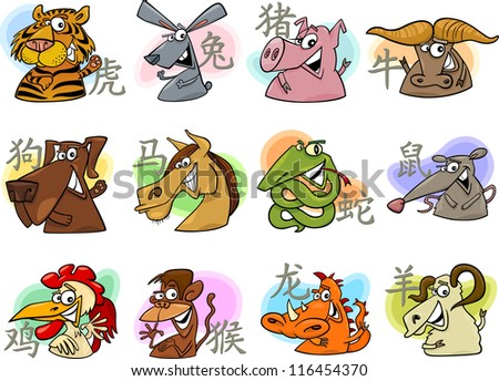 Cartoon Illustration of Chinese Zodiac Horoscope Animal Signs Complete Set