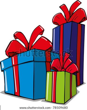 Cartoon illustration of christmas gifts. Isolated on white