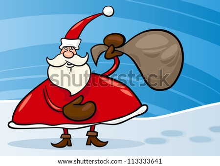 Cartoon Illustration of Christmas Santa Claus or Papa Noel with Gifts in Sack on Snow
