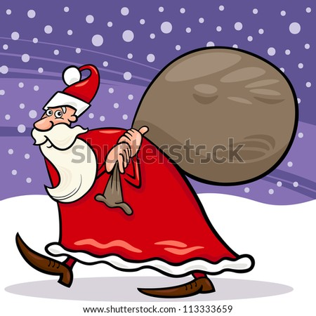 Cartoon Illustration of Christmas Santa Claus or Papa Noel with Presents in Sack against Evening Sky and Snow