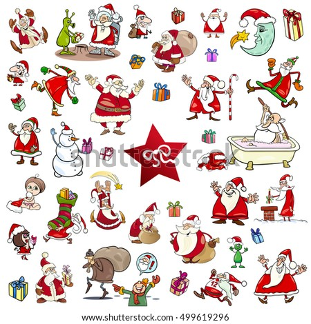 Cartoon Illustration of Christmas Themes and Characters Clip Arts Set