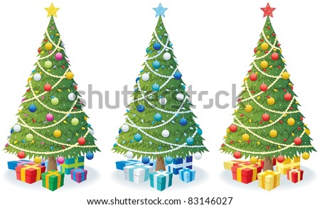 Cartoon illustration of Christmas tree in 3 color versions.
