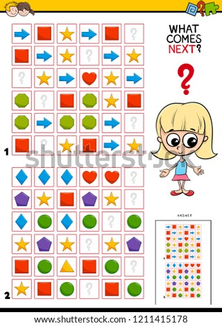 Cartoon Illustration of Completing the Pattern in the Rows Educational Game for Children