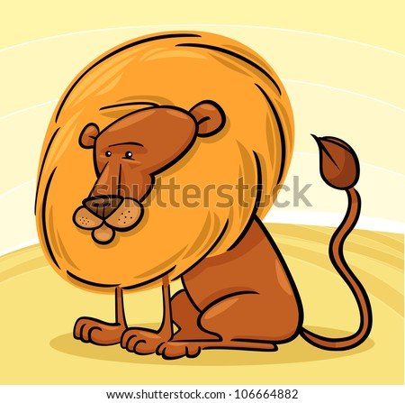 Cartoon Illustration of Cute African Lion Character