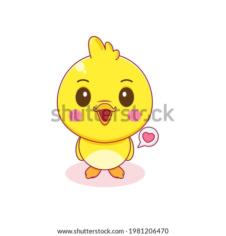 Cartoon illustration of cute little duck character isolated background Stock foto ©