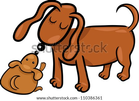 Cartoon Illustration of Cute Little Puppy and his Dog Mom