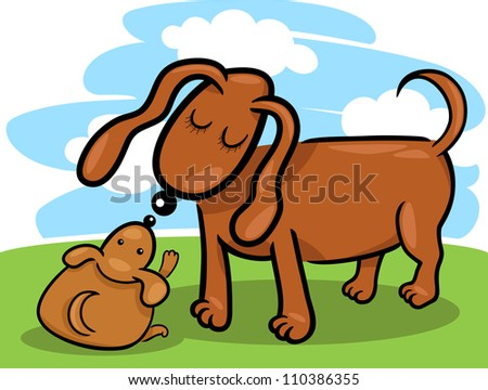 Cartoon Illustration of Cute Little Puppy and his Dog Mom on the Meadow Against Blue Sky