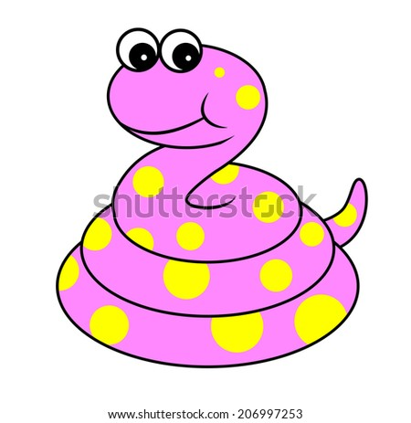 Cartoon Illustration of Cute pink Snake Reptile Animal
