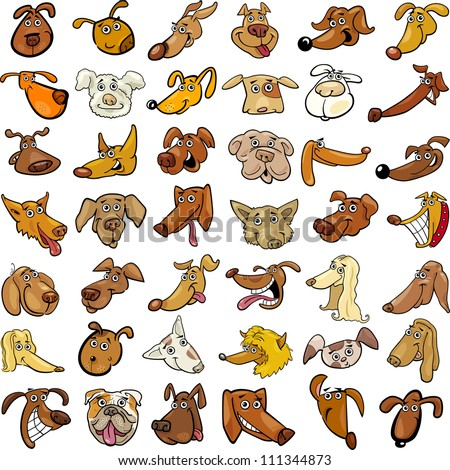 Cartoon Illustration of Different Funny Dogs Heads Huge Set