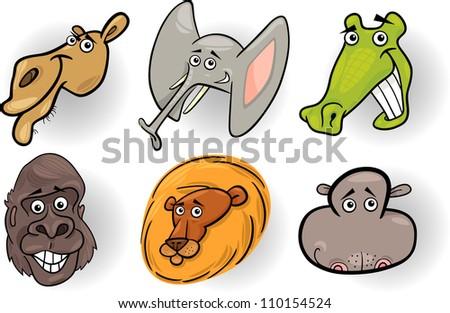 Cartoon Illustration of Different Funny Wild Animals Heads Set: Camel, Crocodile, Gorilla, Elephant, Lion and Hippo