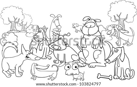 Cartoon Illustration of dogs on the meadow for coloring book