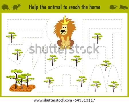 Cartoon illustration of education. Matching game for preschoolers to hold a wild animal of the lion home to sovanna. All pictures are isolated on white background. Vector