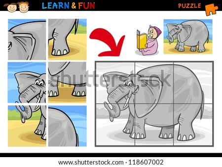 Cartoon Illustration of Education Puzzle Game for Preschool Children with Funny Elephant Animal