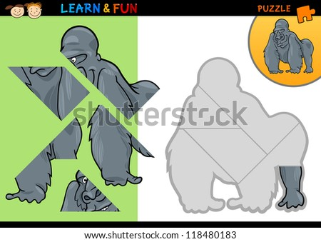 ... Puzzle Game for Preschool Children with Funny Gorilla - stock vector