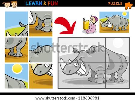 Cartoon Illustration of Education Puzzle Game for Preschool Children with Funny Rhino or Rhinoceros Animal