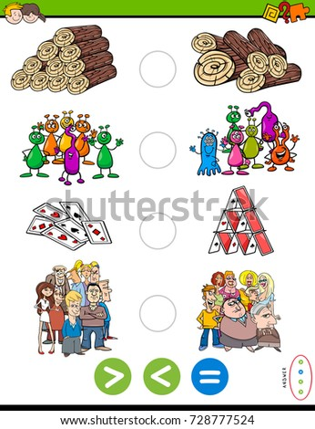 Cartoon Illustration of Educational Mathematical Activity Game of Greater Than, Less Than or Equal to for Kids with Objects and Characters