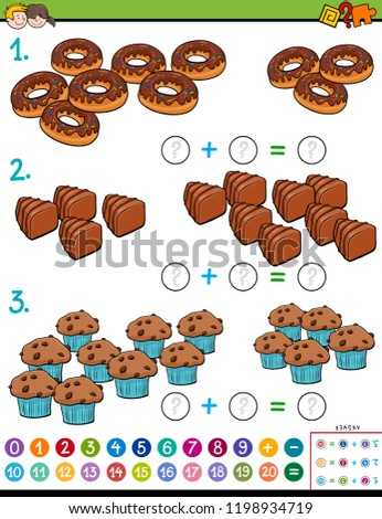Cartoon Illustration of Educational Mathematical Addition Calculation Puzzle Game for Preschool and Elementary Age Children with Sweet Food #1198934719