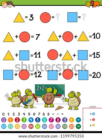 Cartoon Illustration of Educational Mathematical Calculation Puzzle Game for Children #1199795350