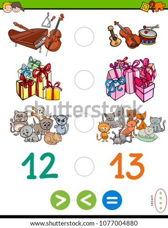 Cartoon Illustration of Educational Mathematical Game of Greater Than, Less Than or Equal to for Children with Objects and Characters
