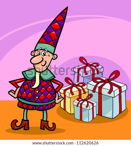 cartoon illustration of elf or gnome with christmas presents