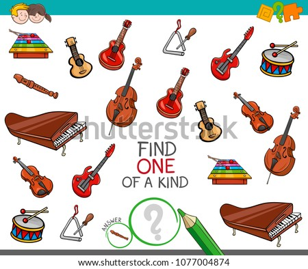 Cartoon Illustration of Find One of a Kind Picture Educational Activity Game for Children with Musical Instruments