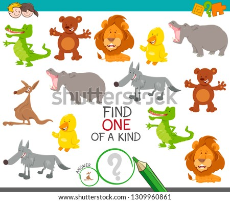 Cartoon Illustration of Find One of a Kind Picture Educational Activity Game with Cute Wild Animal Characters #1309960861