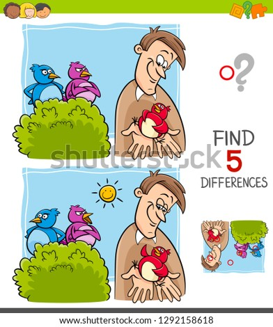 Cartoon Illustration of Finding Five Differences Between Pictures Educational Game for Children with A Bird in the Hand is Worth Two in the Bush Saying