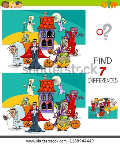 Cartoon Illustration of Finding Seven Differences Between Pictures Educational Game for Children with Spooky Halloween Characters