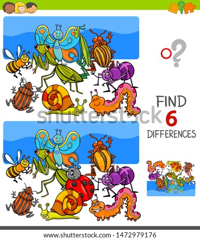 Cartoon Illustration of Finding Six Differences Between Pictures Educational Game for Children with Insects Animal Characters stock photo