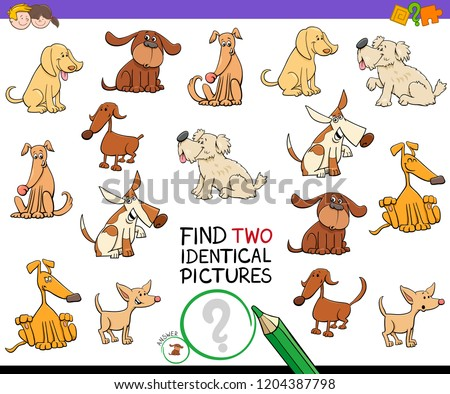 Cartoon Illustration of Finding Two Identical Pictures Educational Game for Kids with Dog Characters #1204387798