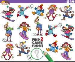 Cartoon illustration of finding two same pictures educational game with funny kids characters on winter time