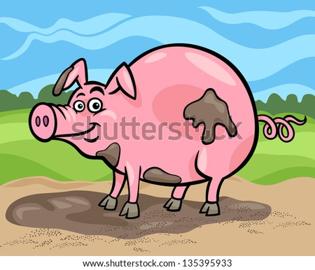 Cartoon Illustration Of Funny Comic Pig Farm Animal In Mud