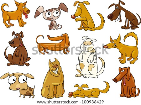 cartoon illustration of funny different dogs set
