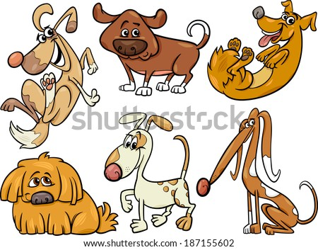 Cartoon Illustration of Funny Dogs or Puppies Pets Set