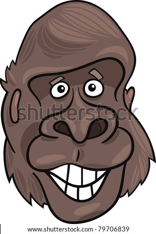 cartoon illustration of funny gorilla ape - stock vector