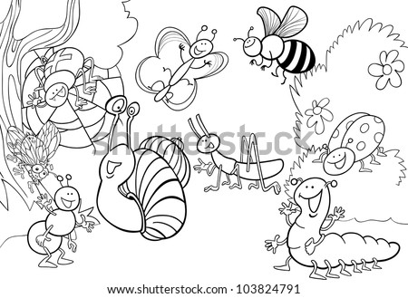 cartoon illustration of funny insects on the meadow for coloring book