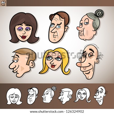 Cartoon Illustration of Funny People Set with Men and Women Heads plus Black and White versions